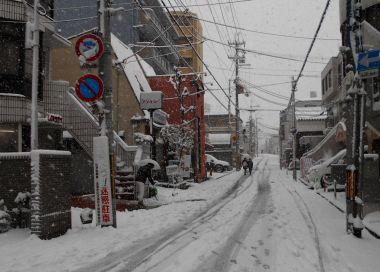 藤森駅までの道も真っ白